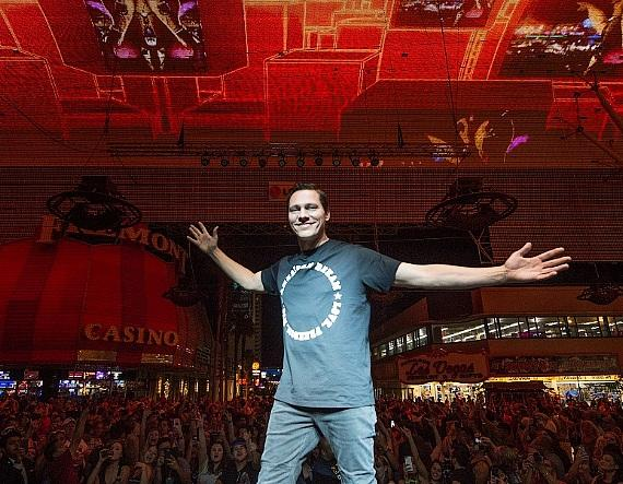 DJ Tiesto with crowd at the D Casino Hotel on Fremont Street Experience on EDC Weekend Las Vegas