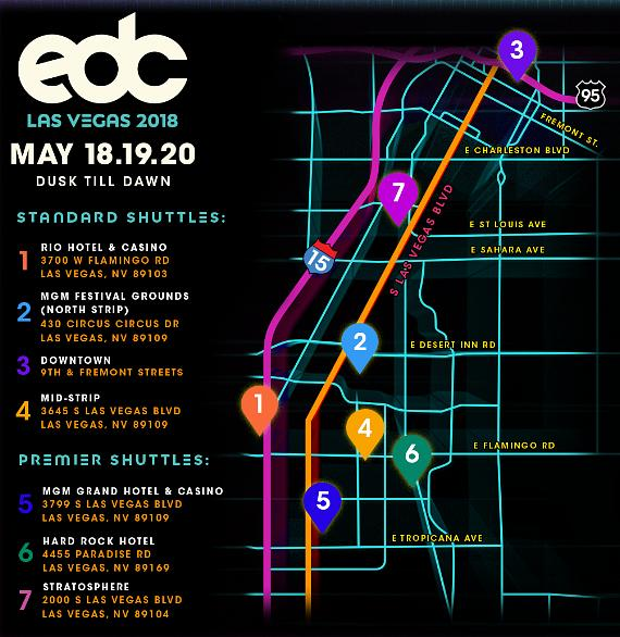 Insomniac Announces New Shuttle Service Details For Electric Daisy Carnival Las Vegas 2018