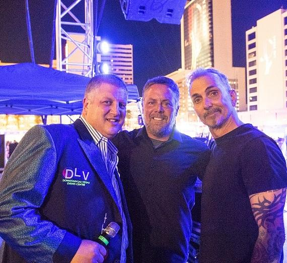 Everclear singer Art Alexakis (r) with the D Casino owner Derek Stevens (l) and General Manager of DLVEC Bud Pico (c)