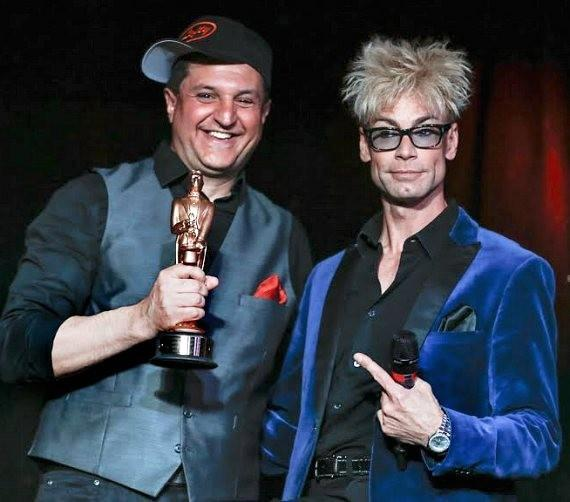 "Douglas 'Lefty' Leferovich with Murray StarChuck, star of ""MURRAY 'Celebrity Magician' at Planet Hollywood in Las Vegas"