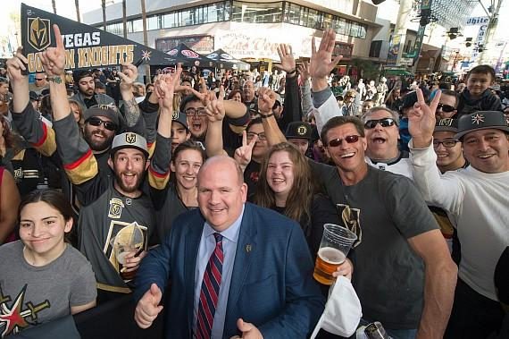 Gary Lawless with Vegas Golden Knights fans in Downtown Las Vegas