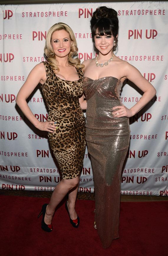 Holly Madison and Claire Sinclair on red carpet for PIN UP at The Stratosphere Casino Hotel & Tower in Las Vegas