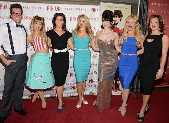 Claire Sinclair and cast of PIN UP on red carpet at The Stratosphere Casino Hotel & Tower in Las Vegas