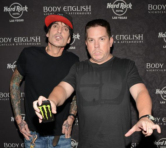 Tommy Lee and DJ Aero on red carpet at Body English Nightlclub & Afterhours