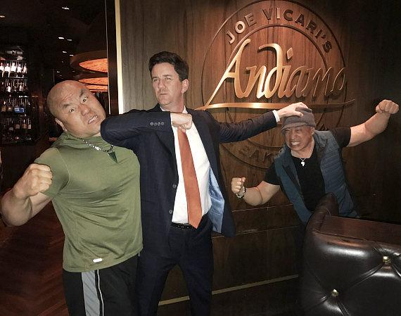 Hollywood Actors Woon Young Park and Ron Yuan with The D Casino Owner Greg Stevens at Andiamo Italian Steakhouse in Las Vegas