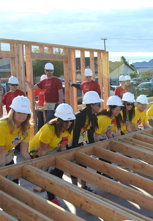 Bank of America and T-Mobile Arena Partner with Habitat For Humanity Las Vegas to Frame New Home