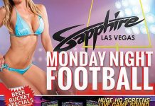 Watch Monday Night Football at Sapphire Las Vegas with 100's of Sapphire Cheerleaders and $1 Half Time Lapdances