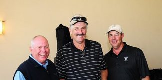 Co-host Butch Harmon (left) with Hall of Famer Rollie Fingers and fellow co-host Greg Maddux