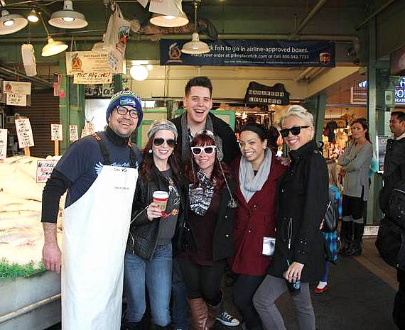 Mark Bennick with dancers at Pike Place Fish Market