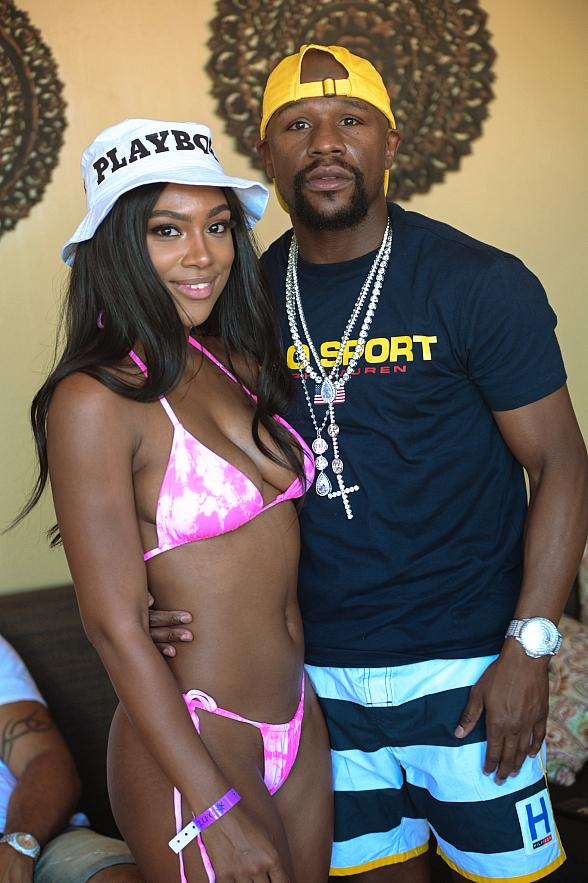 Floyd Mayweather, Saweetie, Quavo and Jordan Emanuel at Daylight Beach Club Las Vegas