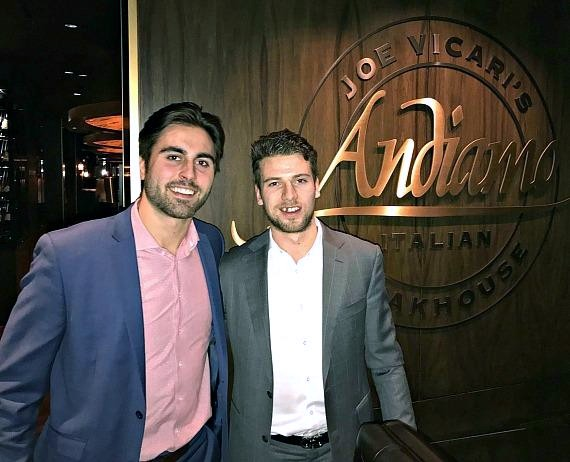 Vegas Golden Knights Alex Tuch and Shea Theodore at Andiamo Italian Steakhouse