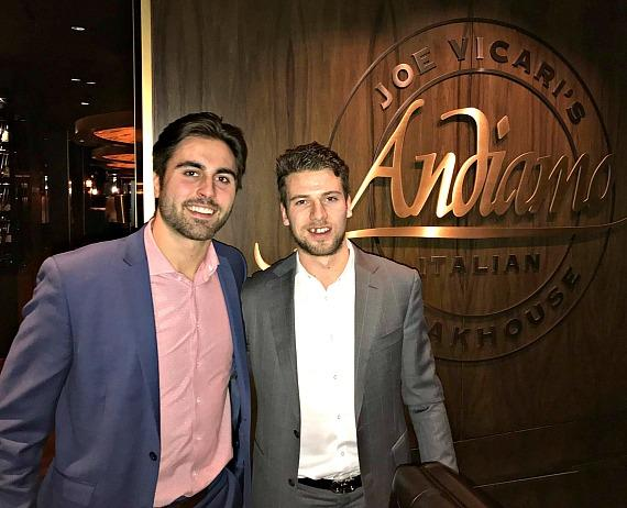 Vegas Golden Knights Shea Theodore and Alex Tuch at Andiamo Italian Steakhouse
