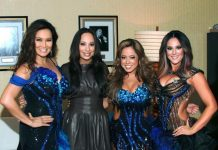 """Tia Carrere, Cheryl Burke, Sabrina Bryan and Lacey Schwimmer meet backstage at """"Dancing with the Stars Live in Las Vegas"""" inside the New Tropicana"""