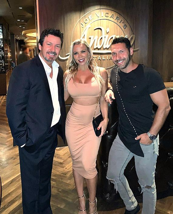 Casino Executive Richard Wilk with Instagram fitness model Lauren Drain and her husband Dave at Andiamo Las Vegas