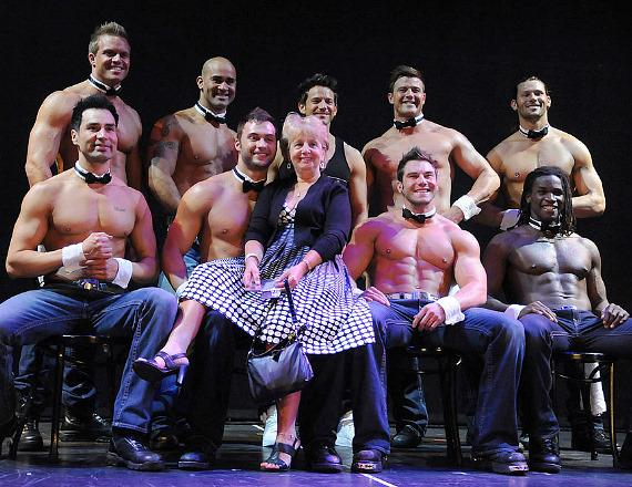 Jeff Timmons and the cast of Chippendales with guest