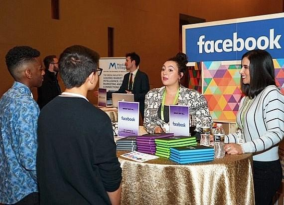 Job candidates at a Facebook booth at MediaVillage's Inclusive Talent Job Fair at the 2019 Advancing Diversity Hall of Honors