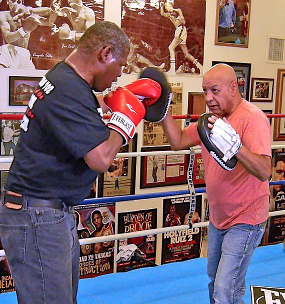 Former Heavyweight Champ Leon Spinks spares with Hall of Fame Referee Joe Cortez