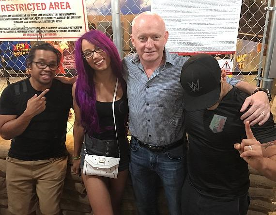 "Kid Mikaze and WWE Sasha Banks with Fremont Street President Patrick Hughes and Kalisto Unmasked at ""Fear The Walking Dead: Suvival"" attraction Las Vegas"