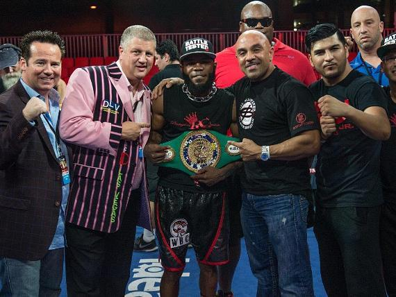 """""""Knockout Night at the D"""" Main Event Winner Demond Brock with Owner Derek Stevens and Championship Belt at Downtown Las Vegas Events Center in Las Vegas"""