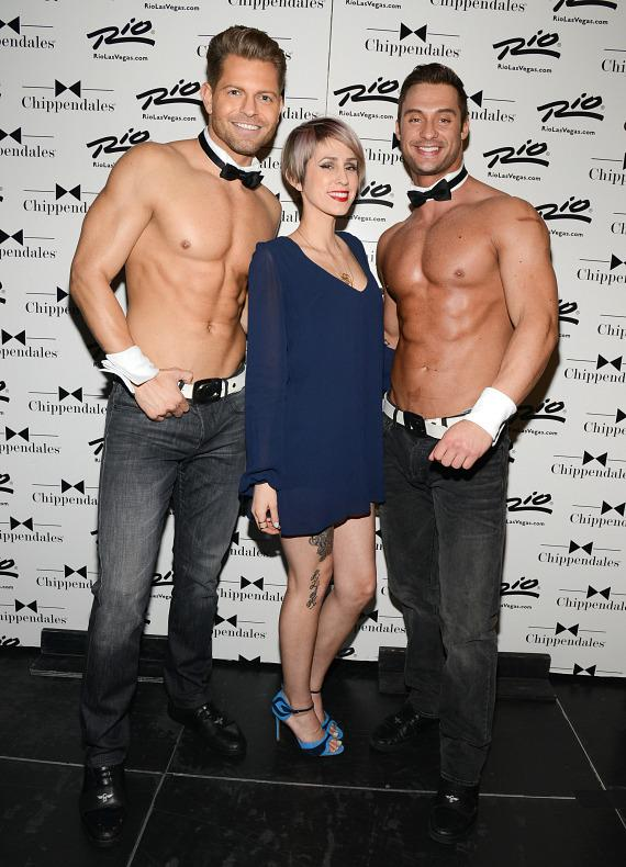 Dev with men of Chippendales