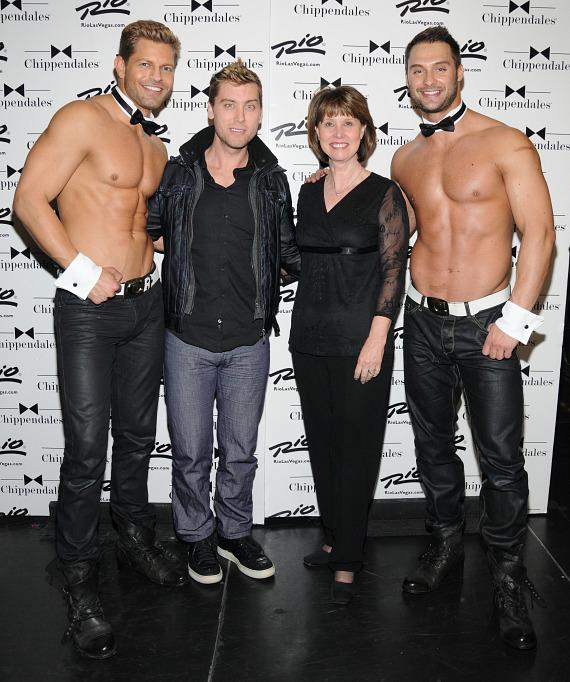 Lance Bass with mother Diane Bass and Chippendales