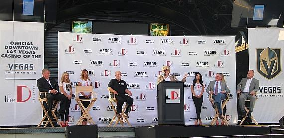 Las Vegas Mayor Carolyn Goodman speaks at Golden Knight Press Conference with Derek Stevens, CEO of the D Casino Hotel, Kelly Bubolz and Gerard Gallant