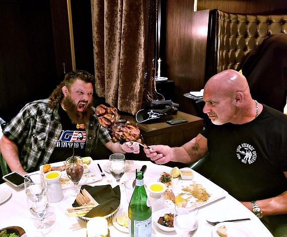 MMA Roy Big Country Nelson and WWE Legend Actor Bill Goldberg dine at Andiamo Las Vegas
