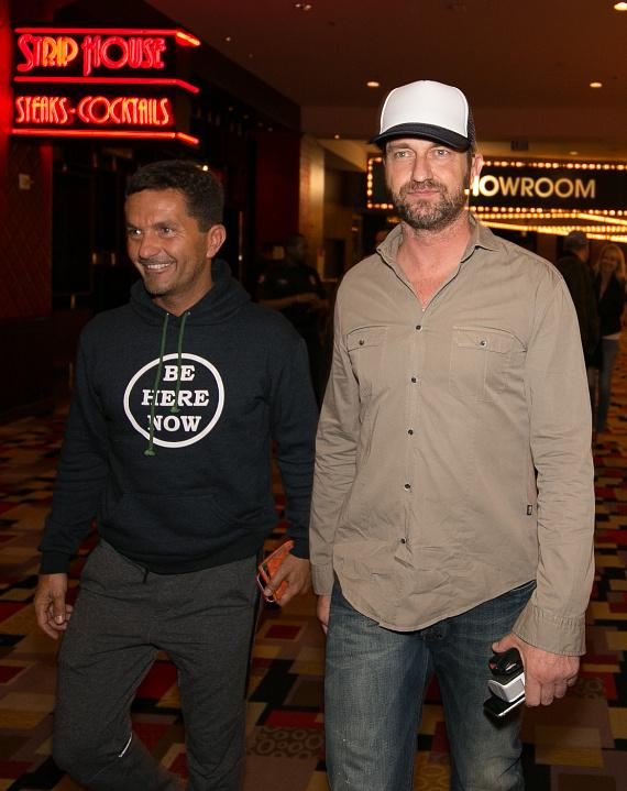 "Actor Gerard Butler and friend at Opening Weekend of his film ""London Has Fallen"" at Planet Hollywood"