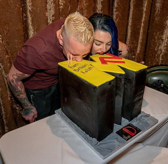 "MTV ""Real World"" and ""The Challenge"" reality star Kailah Casillas with boyfriend Rapper Mikey P to celebrate 26th Birthday at Andiamo Italian Steakhouse in the D Las Vegas"