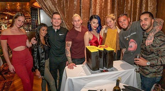 """MTV """"Real World"""" and """"The Challenge"""" reality TV star Kailah Casillas, Marie Roda, rapper Mikey P and friends celebrate Kailah's 26th Birthday cake at The D Las Vegas"""