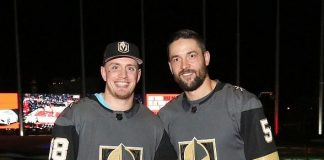 Vegas Golden Knights Players Nate Schmidt and Deryk Engelland and NASCAR Racers/Reporters at Topgolf Las Vegas