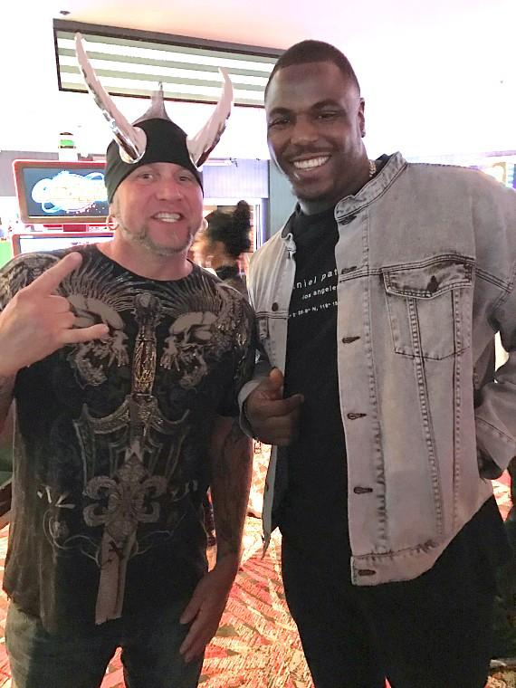 """NFL Malik Jackson (right) with """"Horny Mike"""" Henry (left) at the LONGBAR in the D Casino Hotel Las Vegas"""