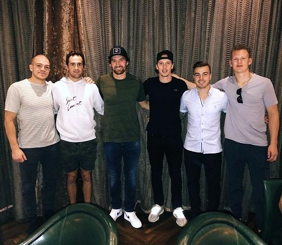 NHL Hockey Players Mark Borowiecki, Colin White, Mark Stone, Thomas Chabot, Jean-Gabriel Pageau and Brady Tkachuk at Andiamo Las Vegas