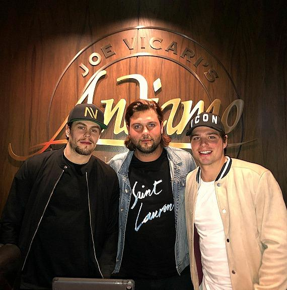NHL Players from Minnesota Wild Pontus Aberg, Kevin Fiala, with Filip Andreason at Andiamo Las Vegas