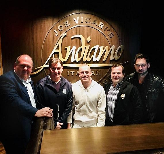 NHL Vegas Golden Knights Nate Schmidt with Gary Lawless, Shane Hnidy, Dave Goucher Podcasters at Andiamo Italian Steakhouse