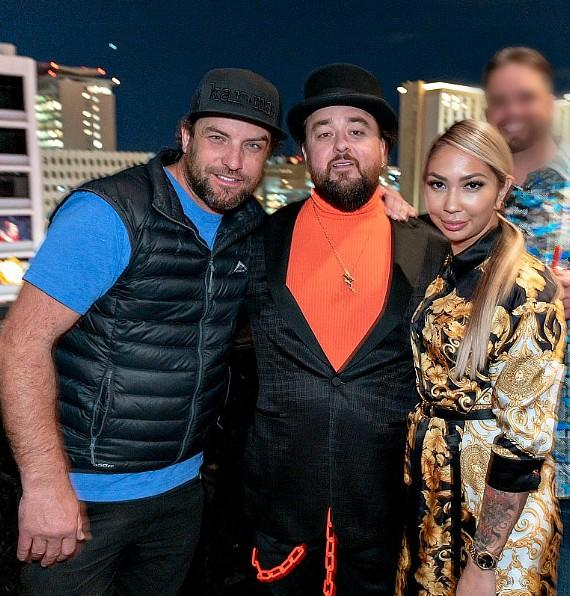 BMX MTV The Challenge TJ Lavin with Pawn Stars Chumlee and fiancee Olivia Rademann in the D Las Vegas Detroit Ballroom Patio