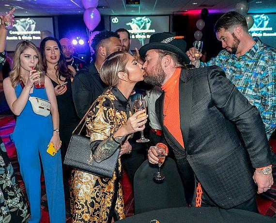 Pawn Stars Chumlee and fiancee Olivia Rademann kiss at Wedding Party in the D Las Vegas