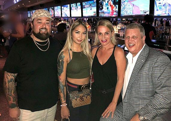 """""""Pawn Stars"""" Chumlee with fiancee Olivia, casino owner Derek Stevens (R) and wife Nicole Parthum at the D Las Vegas"""
