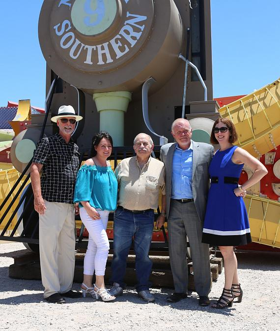 Rob McCoy, president and chief executive officer, Neon Museum; Cathy Cabrera, longtime Station Casinos team member; Alan Cohen, long- time Station Casinos team member; Scott Nelson, general manager, Palace Station; Lori Nelson, vice president, corporate communications, Station Casinos