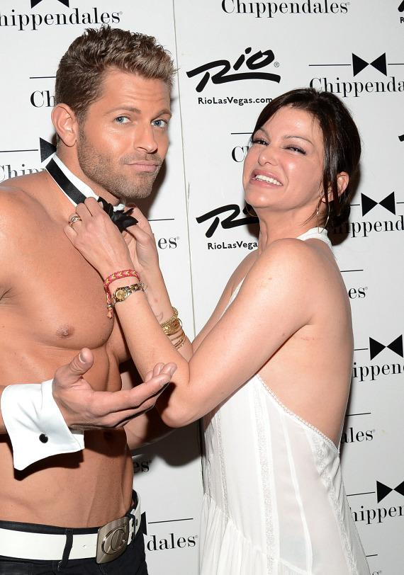 Chef Carla Pellegrino with cast members of Chippendales