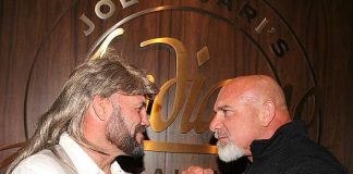 WWE Legend Goldberg runs into MMA Legend Randy Couture inside Andiamo Italian Steakhouse in Las Vegas