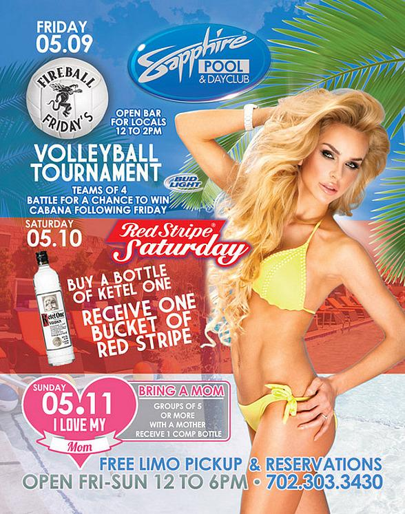 """Join Sapphire Pool & Day Club this Weekend for Volleyball Tournament on Friday, Red Stripe Giveaway on Saturday and """"I Love My Mom"""" on Sunday"""
