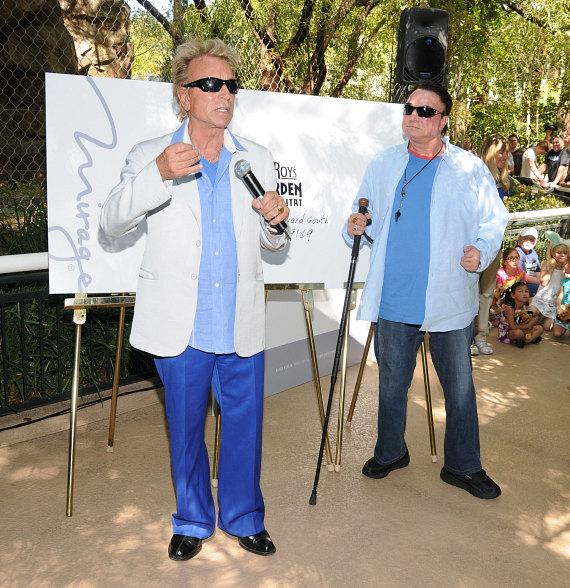 Siegfried & Roy arrive announce the new stamp at their Secret Garden at The Mirage