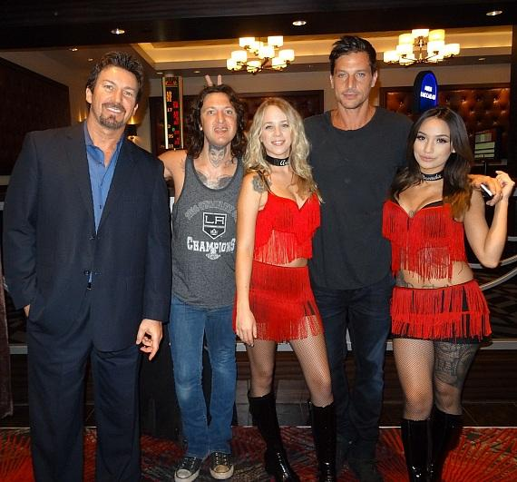 Simon Rex/Dirt Nasty and Mickey Avalon with the D Executive Richard Wilk (far left)and the D Casino Hotel Dancing Dealers
