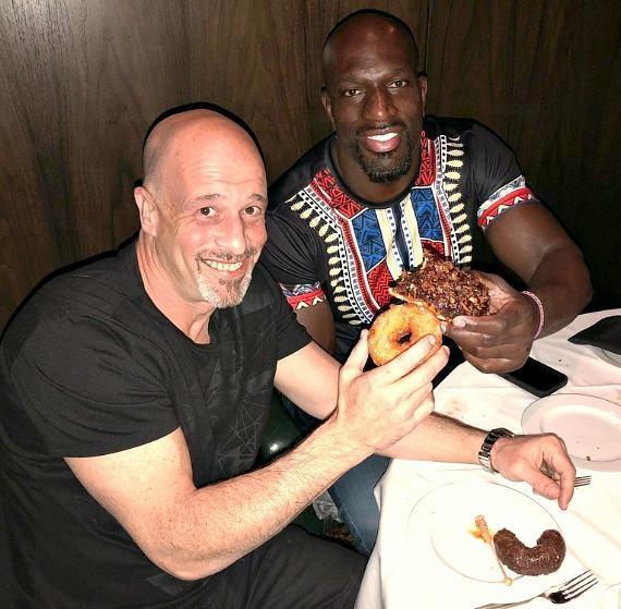 """""""Tanked"""" star Brett Raymer with WWE Icon Titus Oneil at Andiamo Italian Steakhouse in the D Casino Hotel"""