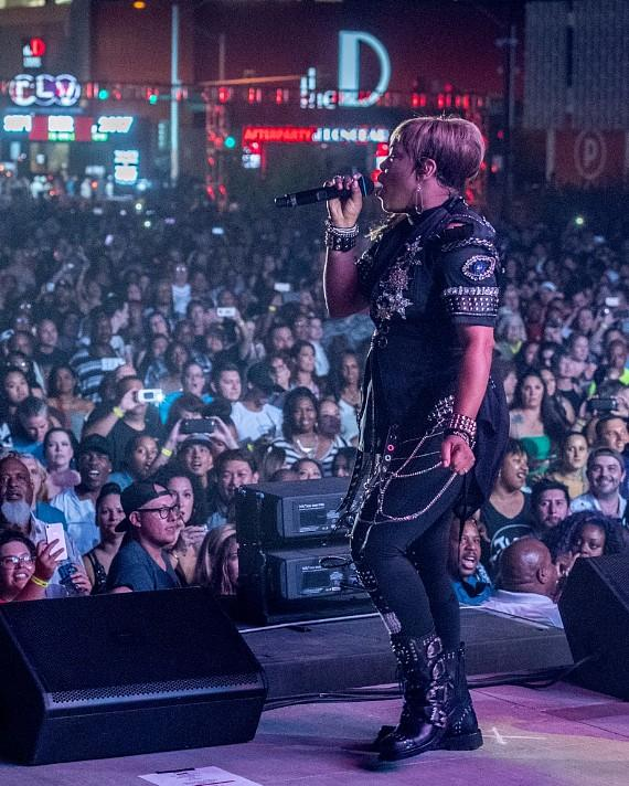 """Tionne Watkins, T Boz of TLC, performs at the Downtown Las Vegas Events  Center for """"I Love The 90s"""""""