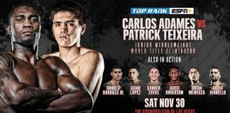 November 30: Carlos Adames-Patrick Teixeira Junior Middleweight World Title Eliminator Heads to The Cosmopolitan of Las Vegas LIVE on ESPN+