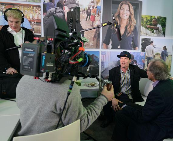Vanilla Ice interviewed on TV at Scripps Networks Interactive Pavilion at 2014 CES in Las Vegas