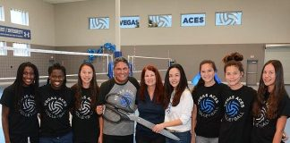 Henderson Mayor Debra March and Vegas Aces Volleyball Players Cut the Net for the Grand Opening