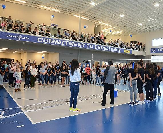 Vegas Aces Volleyball Players and fans at the Grand Opening of Vegas Aces Training Centre